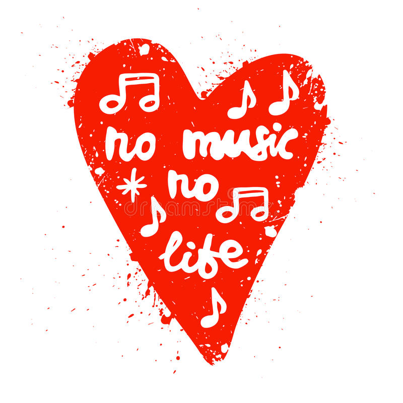Lettering In Heart No Music No Life Stock Vector