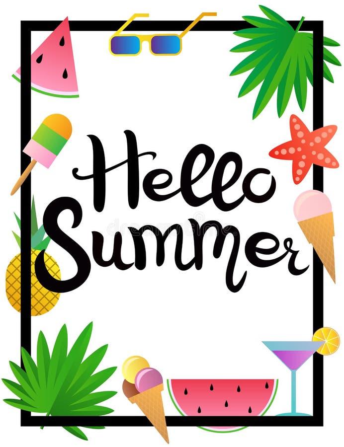 lettering Hello-de zomer Watermeloen, ananas, roomijs, glazen, cocktail, zeester en palmbladen stock illustratie