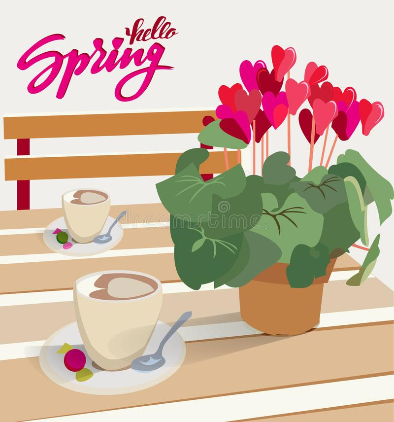 Lettering Hello spring. A table in a cafe with a flower cyclamen in a pot and a cup of coffee with candy. Vector illustration for stock illustration