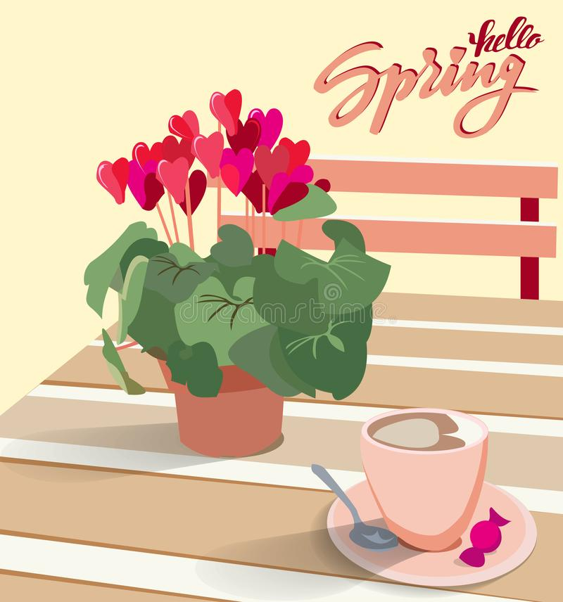 Lettering Hello spring. A table in a cafe with a flower cyclamen in a pot and a cup of coffee with candy. Vector illustration for royalty free illustration