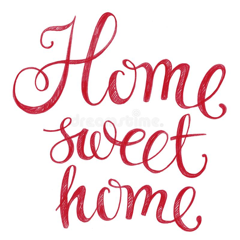 Lettering Home sweet home. Drawn with colored pencils stock images