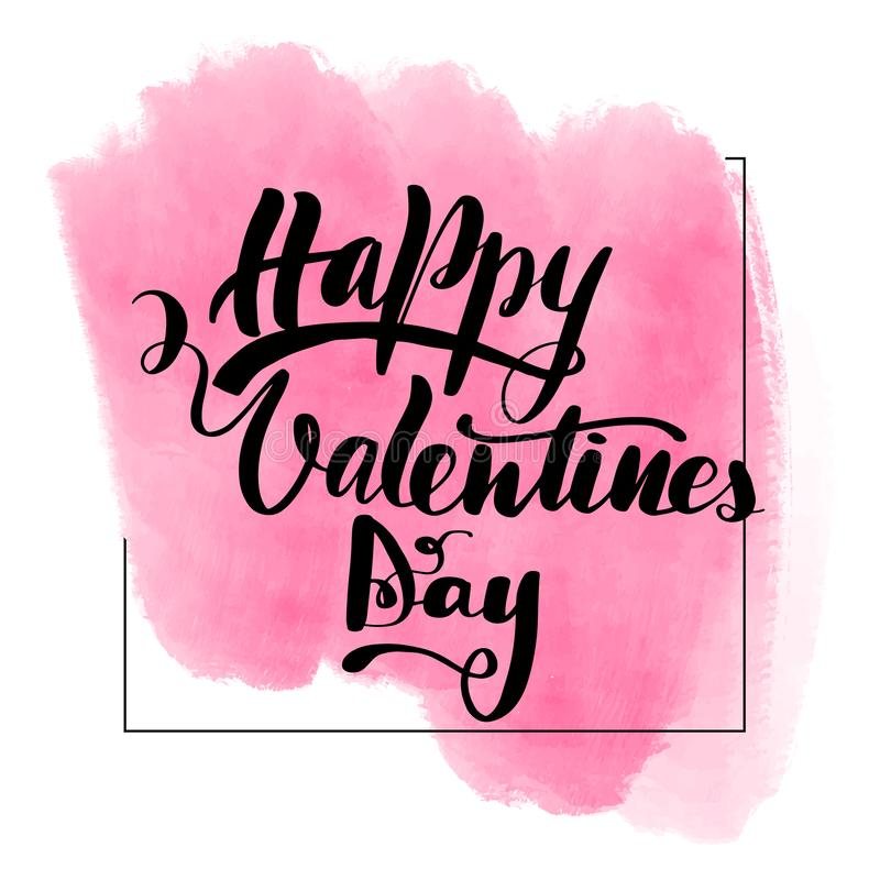 Lettering inscription Happy Valentines Day. stock illustration