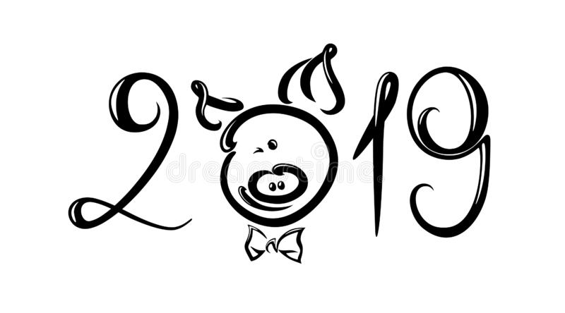 2019, lettering inscription with pig. 2019, lettering inscription with a smiling cartoon pig instead of the letter O vector illustration