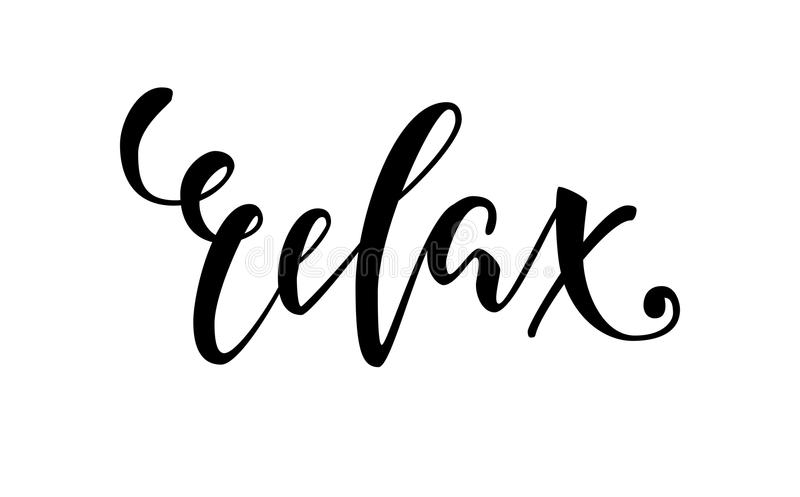 Lettering inspirational poster relax hand drawn brush pen