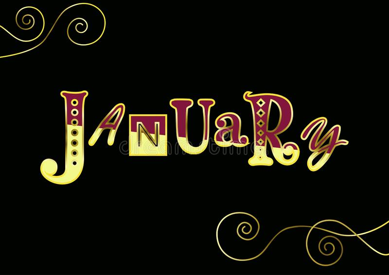 Lettering of January with different letters in yellow and purple with golden outlines and decorative elements on black vector illustration