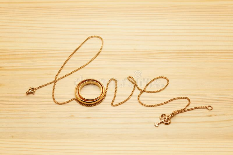 Download Lettering Love Word Font From Chain With Rings Couple Stock Image Image Of