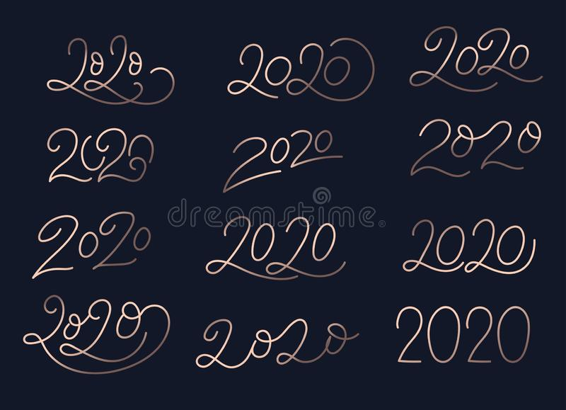 2020 lettering luxury collection design. Set of 2020 rose gold number text pattern. Happy new year Collection template. Vector stock illustration