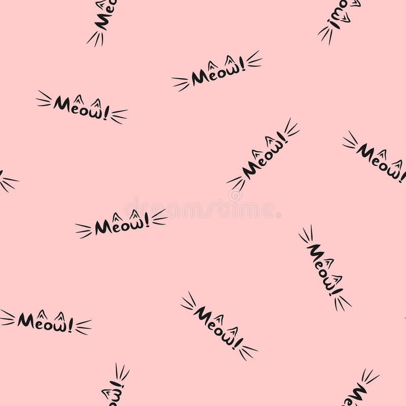 Lettering Meow! Word with cat`s whiskers and ears. Seamless pattern. stock illustration