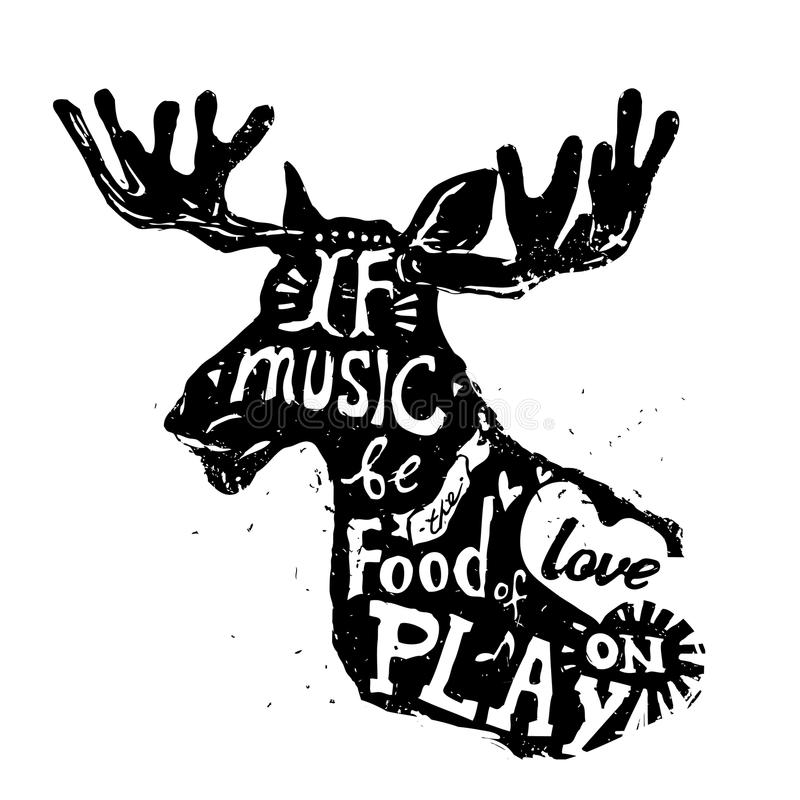 Lettering about music, vintage vector illustration: royalty free illustration