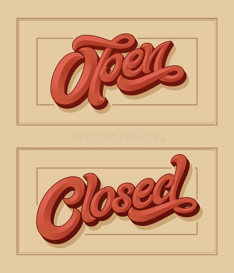Vector lettering OPEN CLOSED for the design of sign on the door of shop, cafe, bar or restaurant. Vector typography in vintage sty royalty free illustration
