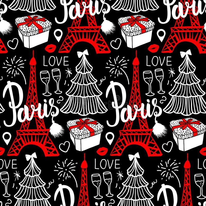 Lettering Paris and Eiffel Tower. Seamless pattern Merry Christmas and Happy new year fashion sketch gift box, tree and royalty free illustration