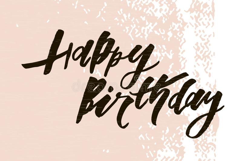 Lettering with phrase Happy Birthday. Vector illustration. color royalty free illustration