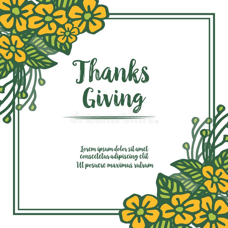 Lettering poster of thanksgiving, with wallpaper crowd of yellow wreath frame. Vector stock illustration