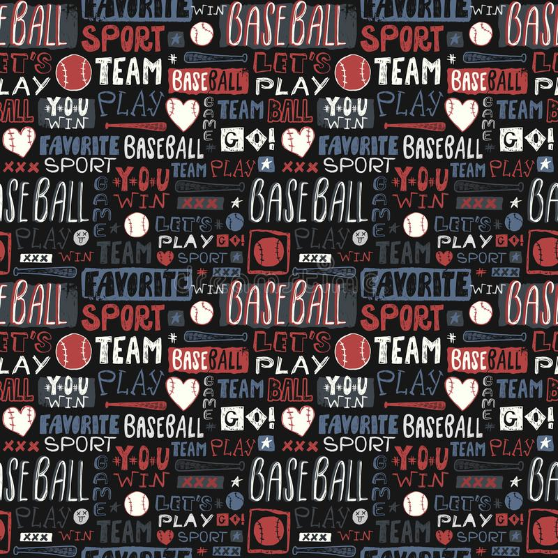 Abstract Sketch seamless pattern baseball for boys, girls. Lettering, favorite sport, you win, team, grunge, print design for clot royalty free stock image