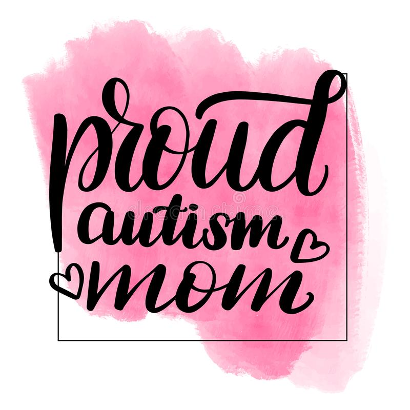 Lettering proud autism mom vector illustration