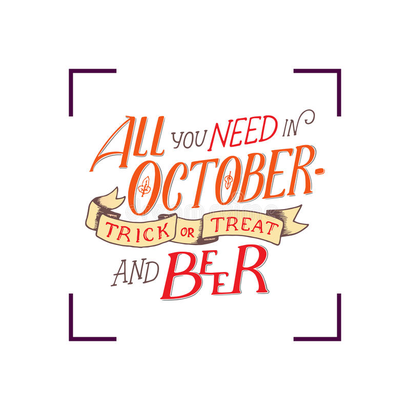 Download Lettering Quote About October. Lettering Composition. Banner For  Autumn Season. Hand Drawn