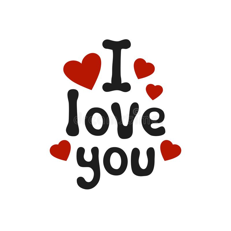 Lettering romantic phrase I Love You. Handdrawn decorative element. Love wish. Vector handwritten calligraphy. Lettering romantic phrase I Love You. Handdrawn vector illustration