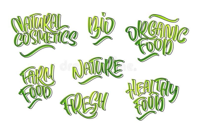 Lettering set for natural products. Handwritten logo fresh, Nature, organic food, natural cosmetics, farm food, Nature, Healthy f. Ood. Vector text vector illustration