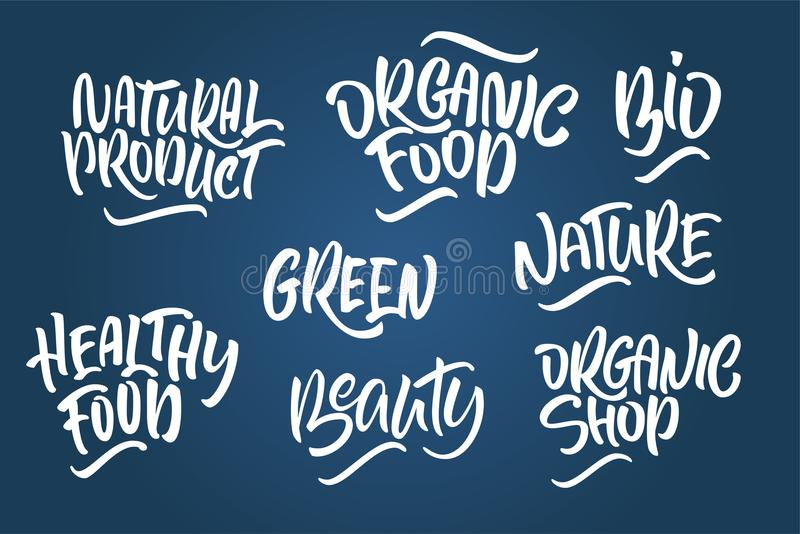 Lettering set for natural products. Handwritten logo fresh, Nature, organic food, natural cosmetics, farm food, Nature, Healthy f. Ood. Vector text royalty free illustration