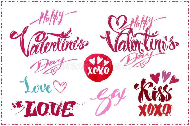 Lettering set for Valentines Day. Vector design stock illustration