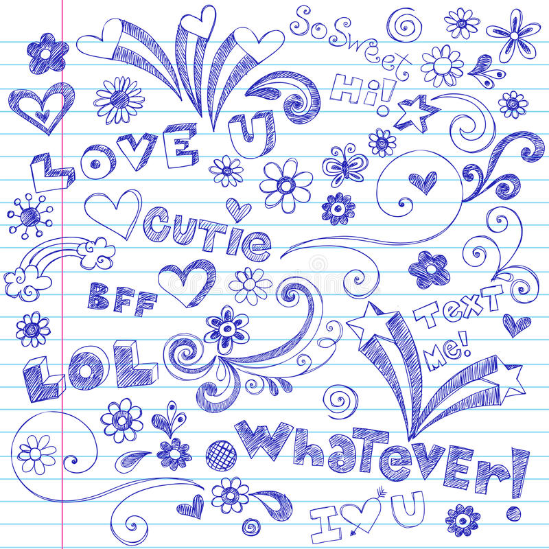 Lettering and Sketchy Notebook Doodles vector illustration
