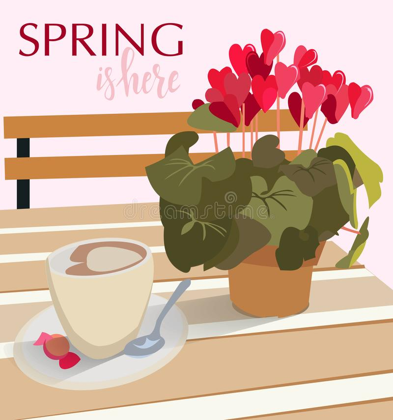 Lettering spring is here logo. A table in a cafe with a flower cyclamen in a pot and a cup of coffee with candy. Vector royalty free illustration
