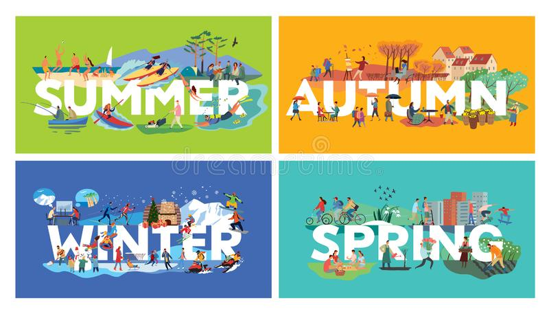 Lettering Summer, Autumn, Winter, Spring and themed plots. Set. Around letters genre pictures with human activities. Vector hand full color graphics vector illustration