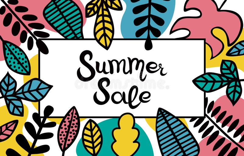 Lettering Summer Sale. The inscription in a rectangular frame decorated with leaves of different plants. Suitable for banner or poster royalty free illustration