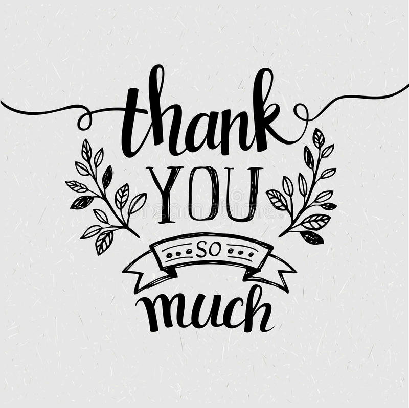 Free Lettering Thank You. Vector Illustration Royalty Free Stock Image - 51286406