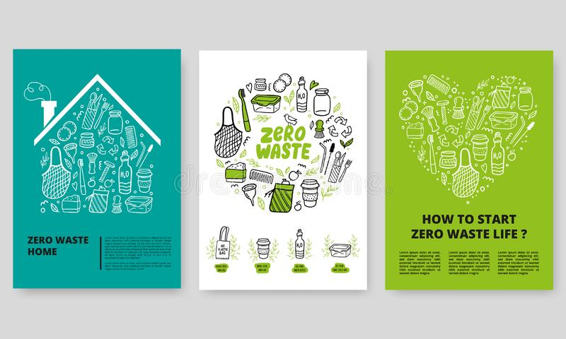 Zero Waste Concept. Web or print vertical banners design template with doodle elements in eco-friendly style. Lettering about zero waste life, waste management vector illustration