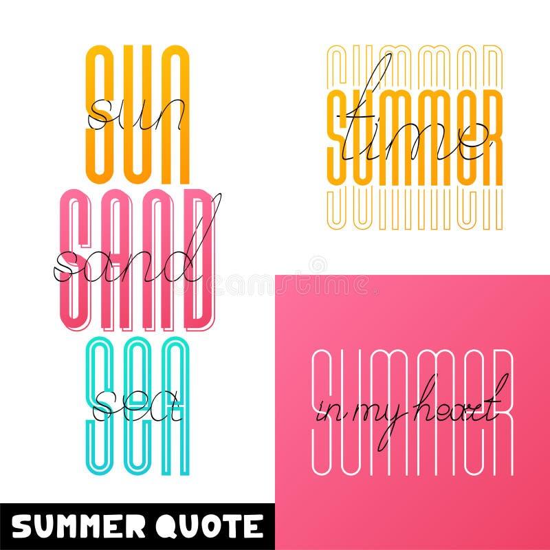 Letterings för stilsort för borste för fastställd sommarhand utdragen Sommartypografi - hälsning, solsandhav, tid, i min hjärta royaltyfri illustrationer
