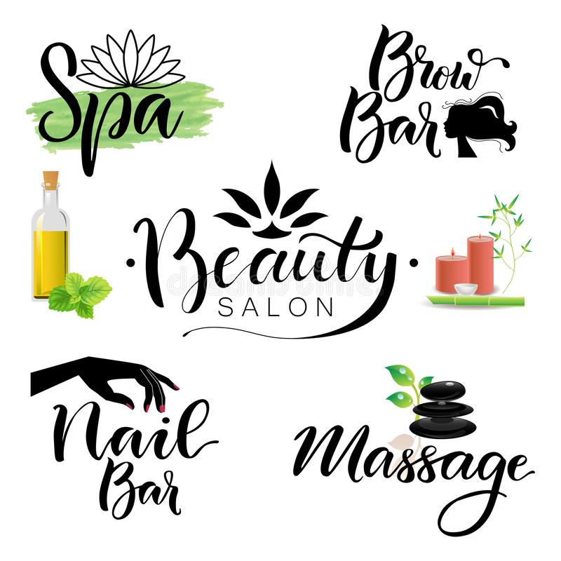 Letterings spa and beauty theme. Set of illustrations letterings spa and beauty theme vector illustration