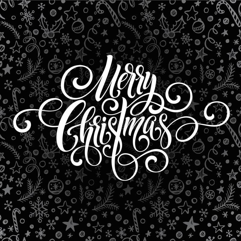 Letteringx de manuscrit d'écriture de salutation de Joyeux Noël sur une salutation de tableau Illustration de vecteur illustration stock