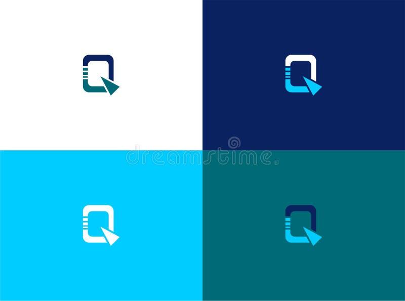 Lettermark de Q con la plantilla del logotipo de la sensación del techno ilustración del vector