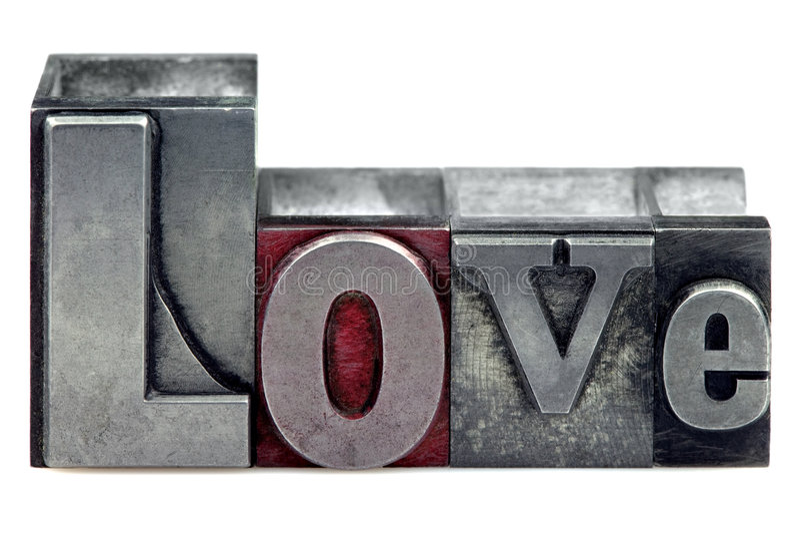 letterpress αγάπη στοκ εικόνα με δικαίωμα ελεύθερης χρήσης