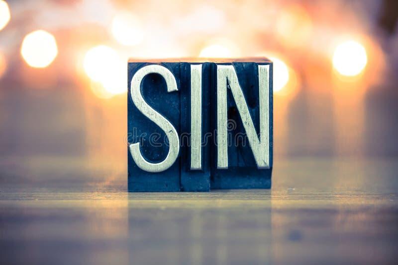 Letterpress μετάλλων έννοιας αμαρτίας τύπος στοκ εικόνα με δικαίωμα ελεύθερης χρήσης