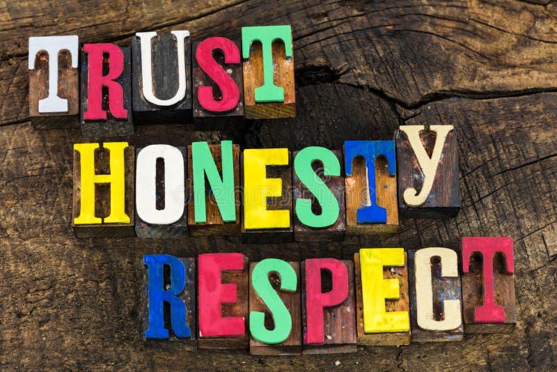 Letterpress σεβασμού τιμιότητας εμπιστοσύνης στοκ εικόνες