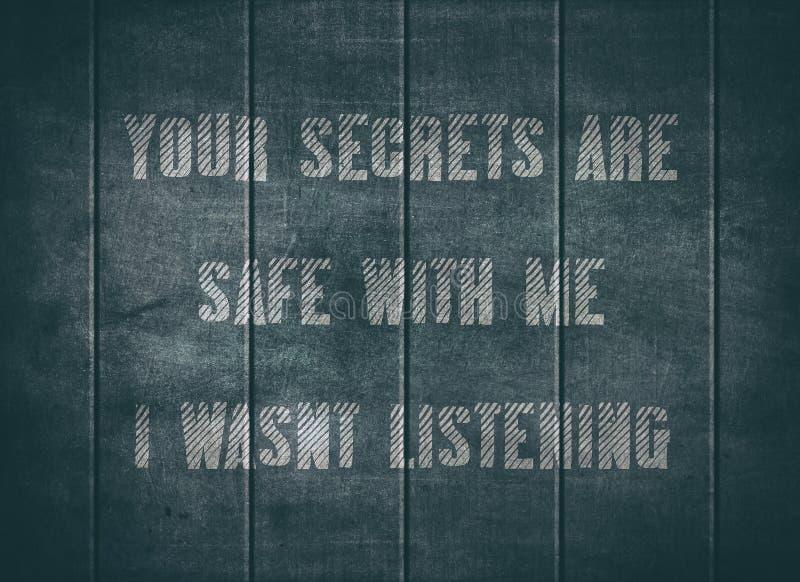 Το μυστικό χρηματοκιβώτιο ακούει ενήμερο άγρυπνο letterpress κείμενο στοκ φωτογραφία
