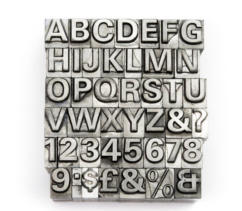 Letterpress - алфавит и номер печатной буквы английский стоковые изображения rf
