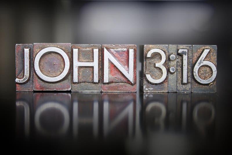 Letterpress 3:16 Джона стоковое изображение