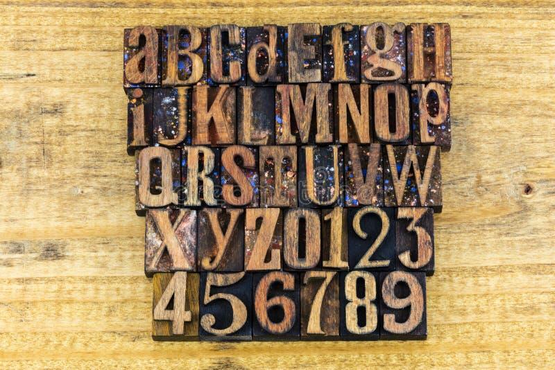 Letterpress нумерует преподавательство abc алфавита стоковое фото