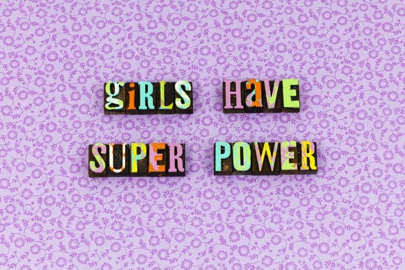 Letterpress смелости сверхдержавы девушки храбрый стоковые фото