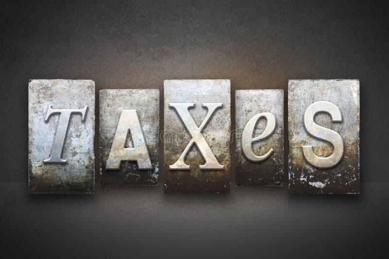 Letterpress темы налогов стоковое изображение