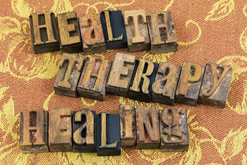Letterpress терапией здоровья заживление стоковые изображения rf
