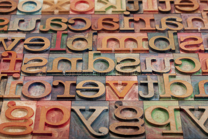 Letterpress alphabet stock photography