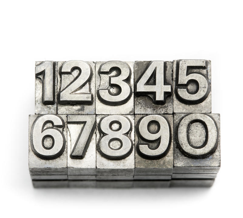 Letterpress - block letter English alphabet and number. Lighting in studio royalty free stock images