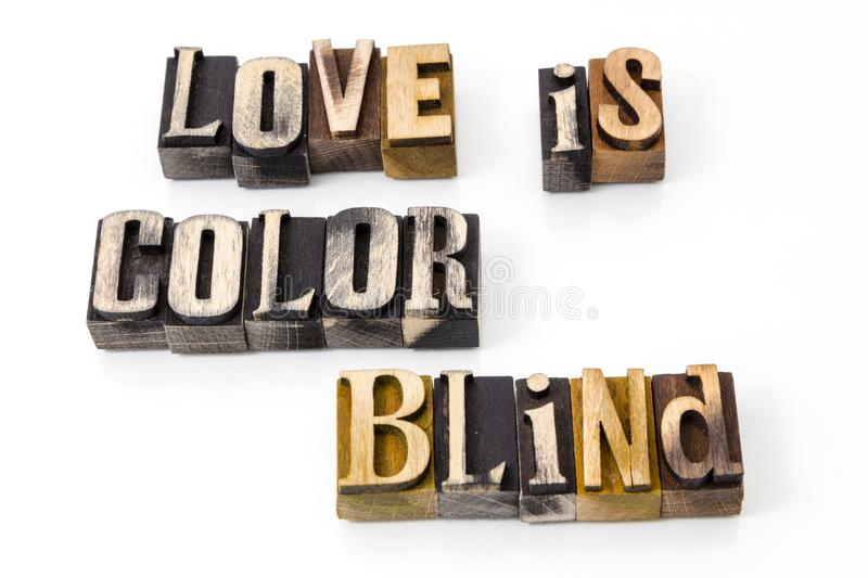 Love color blind words royalty free stock image