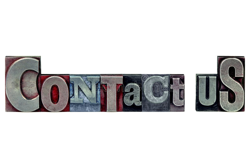 Letterpress Contact Us. The words Contact Us in old letterpress printing blocks isolated on a white background royalty free stock images