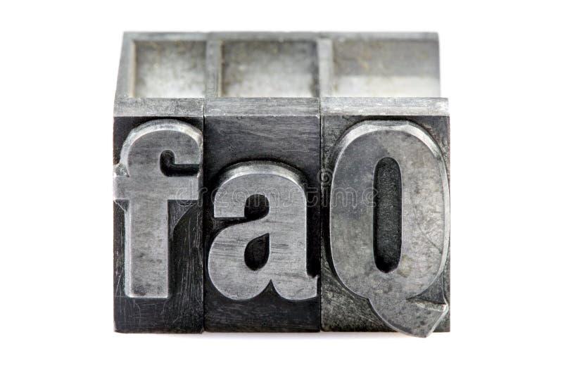Letterpress FAQ stock photos