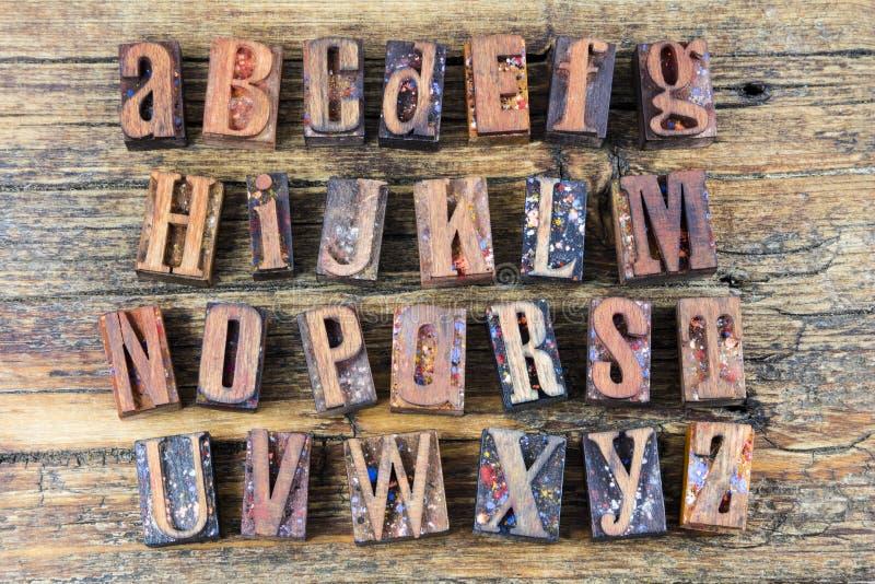 Alphabet abc wood letters letterpress royalty free stock photos